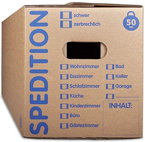 KK Verpackungen® Umzugskartons mit 50KG Tragkraft | 10 Stück, 2-wellige Mehrweg-Umzugskisten in extrastabiler Speditionsqualität