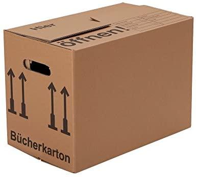 BB-Verpackungen Bücherkartons Profi 2-wellig | 30 Stück | Aktenkartons Archivbox 500 x 300 x 350 mm | Karton mit Deckel & Schmetterlingsboden | 40KG Tragkraft | Bookbox für Umzug, Dokumente & Bücher